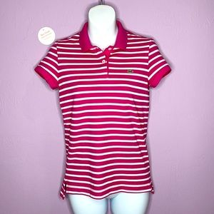 Lacoste Polo Pink And White Stripped Pullover